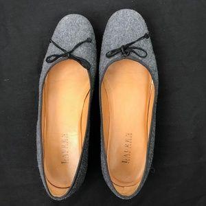Ralph Lauren Gray Wool Leather Ballet Flats 9.5M